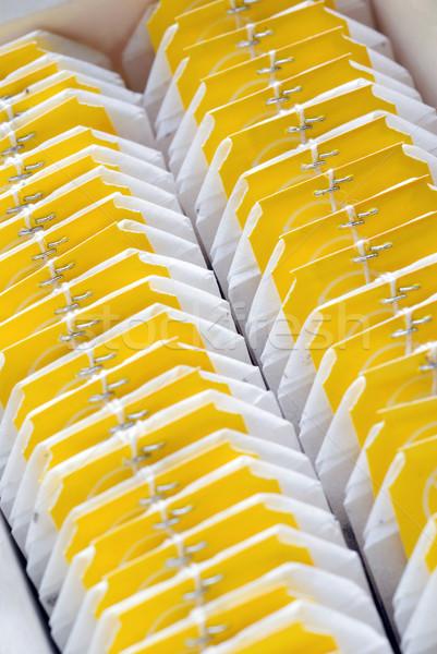 Foto stock: Chá · sacos · dois · caixa · raso
