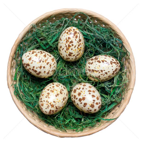 Stok fotoğraf: Sepet · yumurta · yeşil · saman · çim