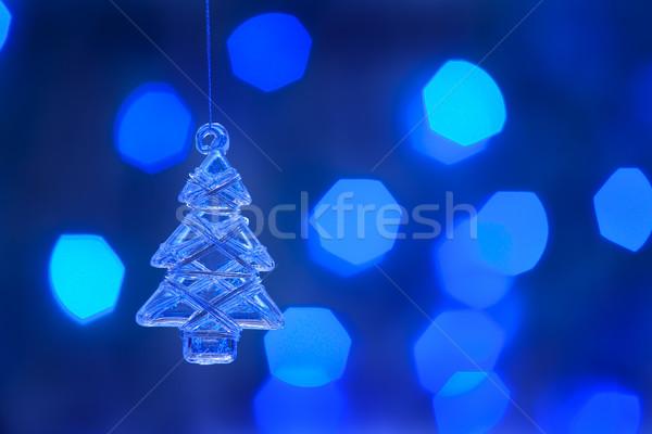 árbol de navidad vidrio árbol luz azul Navidad Foto stock © Pietus