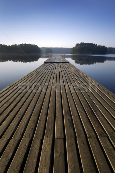 Stok fotoğraf: Ahşap · iskele · sabah · köprü · göl · ufuk