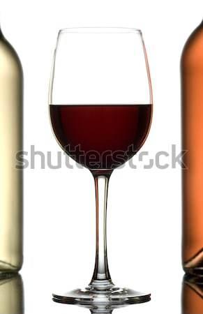 Glas wijn twee flessen geïsoleerd witte Stockfoto © Pietus