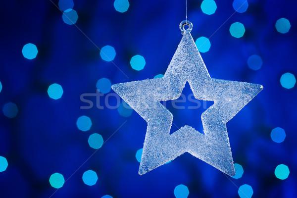 Stok fotoğraf: Noel · star · cam · mavi