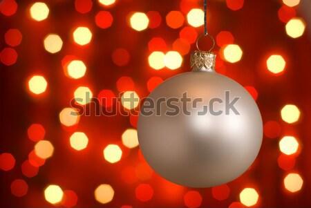 Noel top gümüş kırmızı ışıklar Stok fotoğraf © Pietus