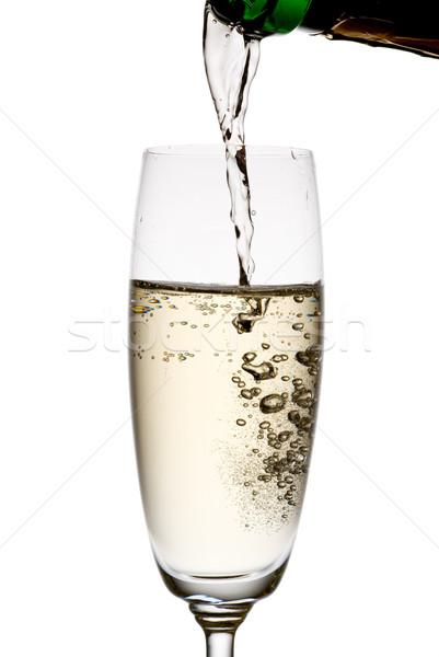 Stok fotoğraf: şampanya · yalıtılmış · beyaz · cam · içmek