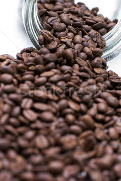 Café semences grains de café sur verre jar Photo stock © Pietus