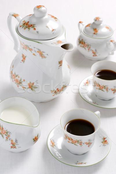 Koffie thee ingesteld patroon dienst Stockfoto © Pietus