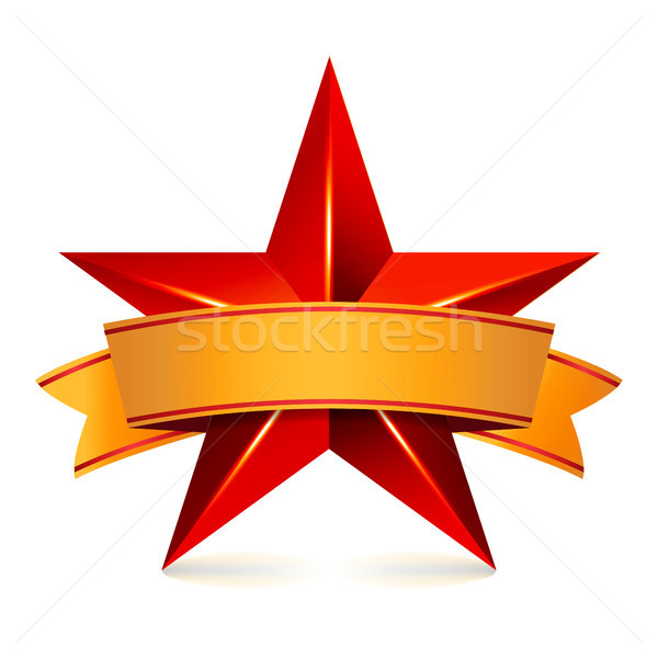 Achievement Vector Star With Yellow Ribbon. Red Sign  Place For Text. Golden Decoration Symbol. 3d S Stock photo © pikepicture