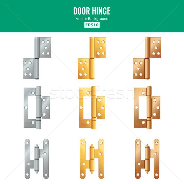 Kapı menteşe vektör ayarlamak klasik endüstriyel Stok fotoğraf © pikepicture
