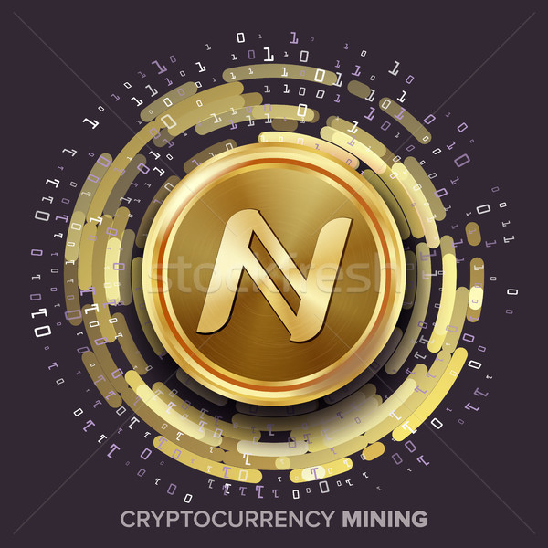 Mining Namecoin Cryptocurrency Vector. Golden Coin, Digital Stream. Futuristic Money. Fintech Blockc Stock photo © pikepicture