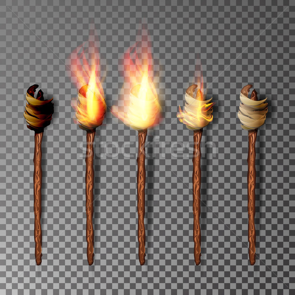 Torch With Flame. Realistic Fire. Realistic Fire Torch Isolated On Transparent Background. Vector Il Stock photo © pikepicture