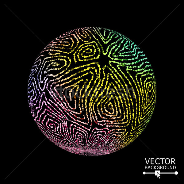 Luxury Sphere With Swirled Stripes. Vector Glowing Composition Stock photo © pikepicture