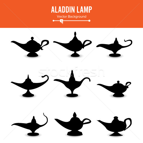 Aladdin lamp Vector. Set Icons Aladdins lamp Signs. Illustration Of Wish And Mystery Souvenir Stock photo © pikepicture