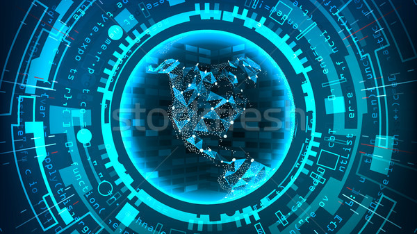 Futuristic Technology Connection Structure. Vector Abstract Background. Blue Electronic Network. Dig Stock photo © pikepicture