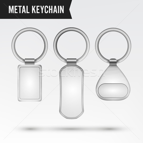 Realistic Template Metal Keychain Vector Set. 3d Key Chain With Ring For Key Isolated On White Backg Stock photo © pikepicture