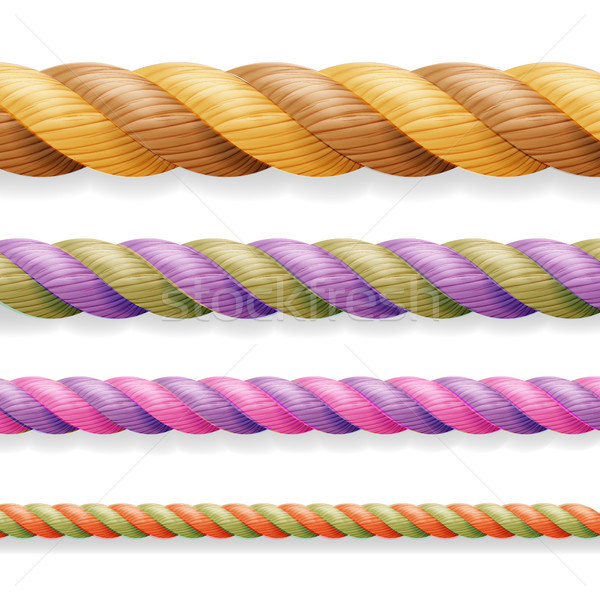 Realistic Rope Vector. Different Color Thickness 3d Rope Line Set Multicolored Twisted Nautical Cord Stock photo © pikepicture