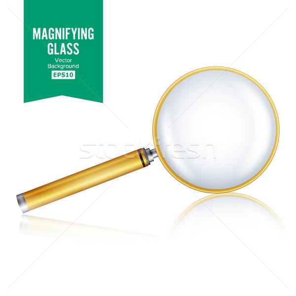 Stockfoto: Realistisch · vergrootglas · vector · geïsoleerd · witte · helling