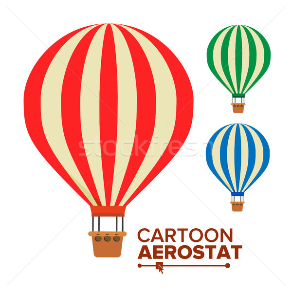 Aerostat Balloon Vector. Vintage Transport. Hot Air Balloons. Cartoon Flat Isolated Illustration Stock photo © pikepicture
