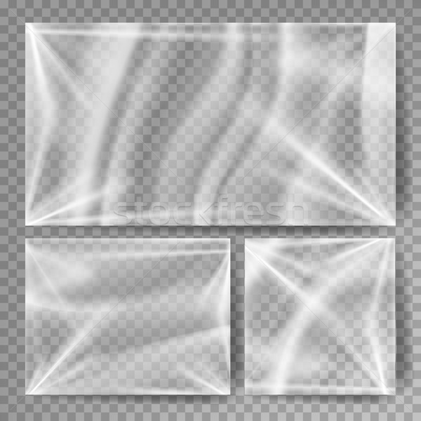 Transparent Polyethylene Vector. Stretched Glossy Plastic Warp Mock Up. Isolated On Transparent Back Stock photo © pikepicture