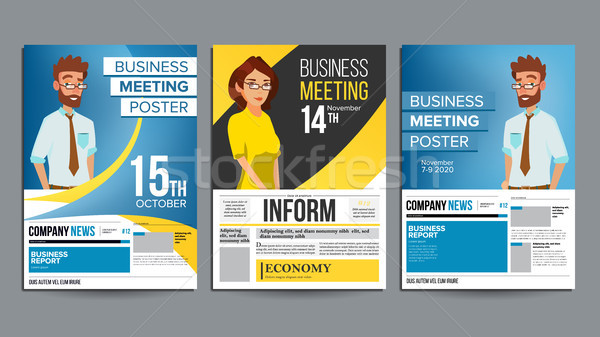 Business Meeting Poster Set Vector. Businessman And Business Woman. Layout. Presentation Concept. Co Stock photo © pikepicture
