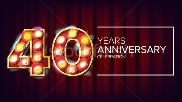 40 yaşında yıldönümü afiş vektör kırk kutlama Stok fotoğraf © pikepicture