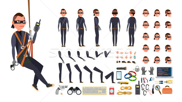 Thief, Hacker Vector. Animated Character Creation Set. Black Mask. Tools And Equipment. Full Length, Stock photo © pikepicture