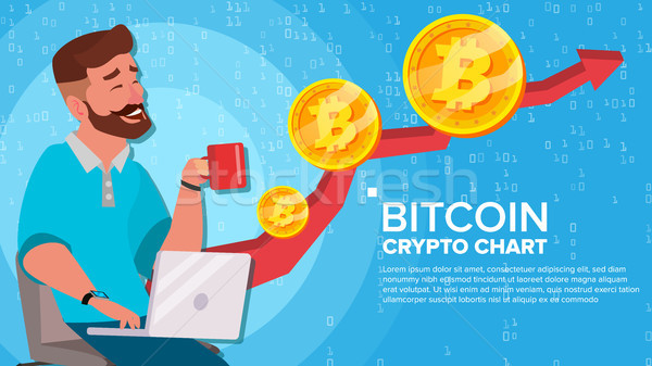 Bitcoin Up Trend, Growth Concept Vector. Trade Chart. Virtual Money Happy Man Investor. Crypto Curre Stock photo © pikepicture