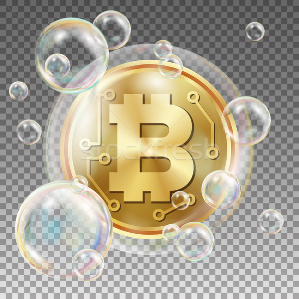 Bitcoin In Soap Bubble Vector. Investment Risk. Collapse Of Crypto Currency. Bitcoin Price Drops. Di Stock photo © pikepicture