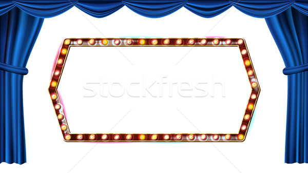 Gold Frame Light Bulbs Vector. Isolated On White Background. Blue Theater Curtain. Silk Textile. Shi Stock photo © pikepicture