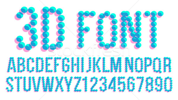 3D Pixel Font Vector. Futuristic Alphabet. Abc. Anaglyphic Letters, Numbers. Glitch Text. Illustrati Stock photo © pikepicture