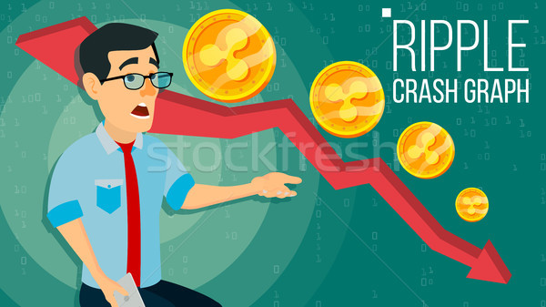 Ripple Crash Graph Vector. Surprised Investor. Negative Growth Exchange Trading. Collapse Of Crypto  Stock photo © pikepicture