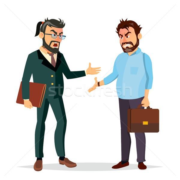 Streiten Chef Vektor Büroangestellte Zeichen Konflikt Stock foto © pikepicture