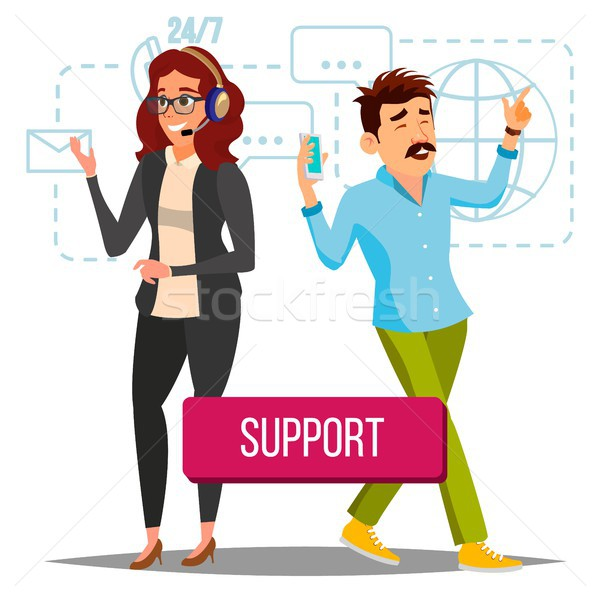 Technical Support Vector. Operator At work. Online Tech Support. Flat Isolated Illustration Stock photo © pikepicture