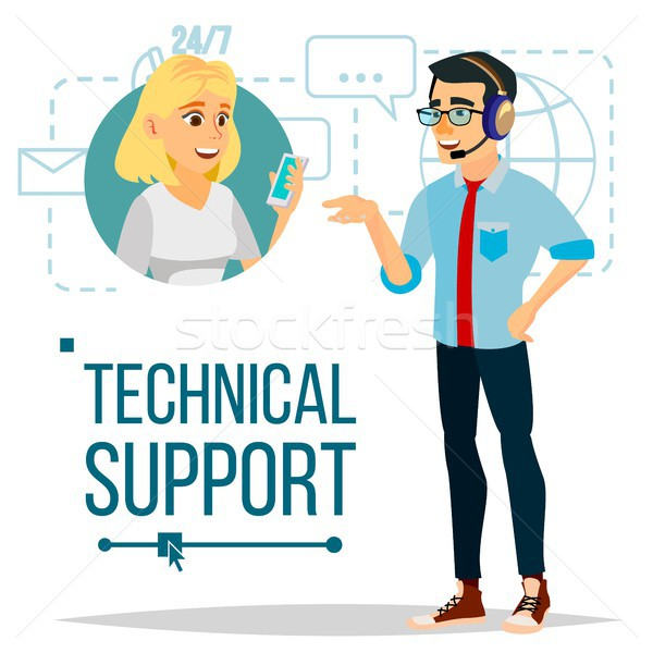 Stock photo: Technical Support Vector. 24 7 Support Working. Online Tech Support. Flat Isolated Illustration