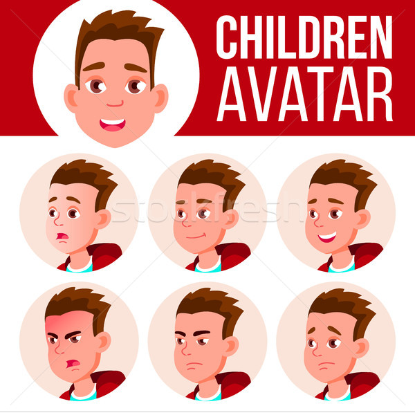 Boy Avatar Set Kid Vector. High School. Face Emotions. User, Character. Fun, Cheerful. Cartoon Head  Stock photo © pikepicture
