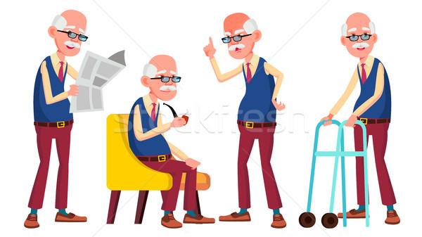 Yaşlı adam ayarlamak vektör yaşlı insanlar kıdemli Stok fotoğraf © pikepicture