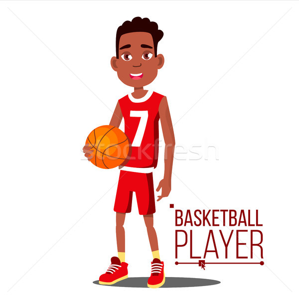 Basketball Player Child Vector. Afro American, Black. Athlete In Uniform With Ball. Healthy Lifestyl Stock photo © pikepicture