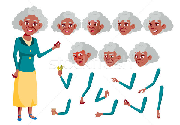 Old Woman Vector. Black. Afro american. Senior Person. Aged, Elderly People. Fun, Cheerful. Face Emo Stock photo © pikepicture