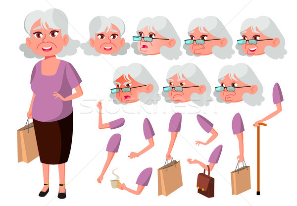 Old Woman Vector. Senior Person. Aged, Elderly People. Cute, Comic. Joy. Face Emotions, Various Gest Stock photo © pikepicture