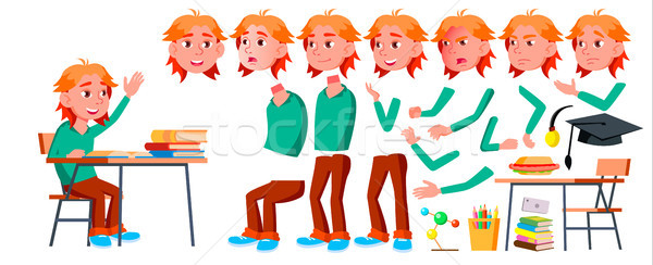 Boy Schoolboy Kid Vector. High School Child. Animation Creation Set. Face Emotions, Gestures. School Stock photo © pikepicture