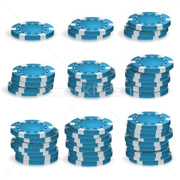 Сток-фото: синий · фишки · для · покера · вектора · 3D · реалистичный · покер