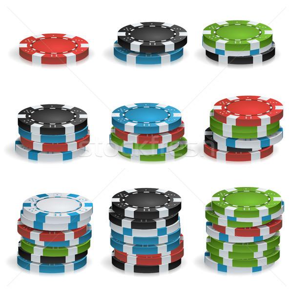 Gioco d'azzardo chip vettore 3D realistico poker Foto d'archivio © pikepicture