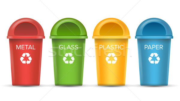 Recycling Bins Isolated Vector. Set Of Red, Green, Blue, Yellow, White Buckets. For Paper, Glass, Me Stock photo © pikepicture