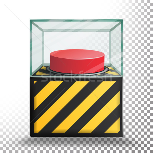 Panic Button Isolated Vector. Red Alarm Shiny Button. Transparent Background Illustration Stock photo © pikepicture