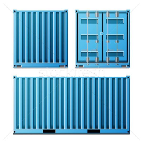 Blue Cargo Container Vector. Realistic Metal Classic Cargo Container. Freight Shipping Concept. Tran Stock photo © pikepicture