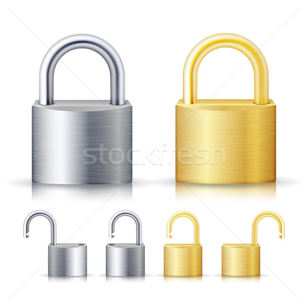 Locked And Unlocked Padlock Realistic Stock photo © pikepicture