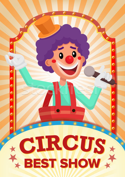 Circus Clown Show Poster Blank Vector. Vintage Magic Show. Fantastic Clown Performance. Holidays And Stock photo © pikepicture