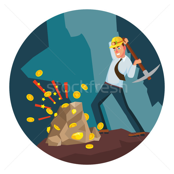 Miner Man Vector. Modern Miner Businessman. Digital Currency. Cartoon Character Illustration Stock photo © pikepicture