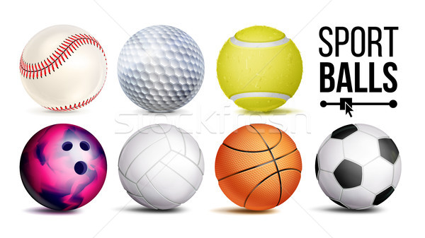 Sport Balls Vector. Realistic. Classic Sport Game, Fitness Symbol Symbol Equipment. Isolated On Whit Stock photo © pikepicture