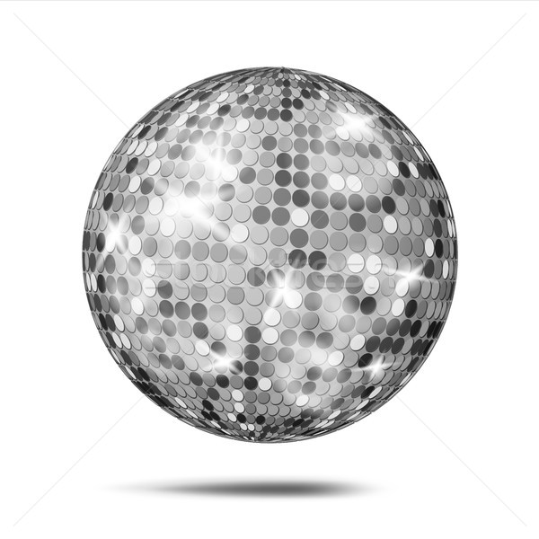Silver Disco Ball Vector. Dance Night Club Party Light Element. Silver Mirror Ball. Isolated On Whit Stock photo © pikepicture