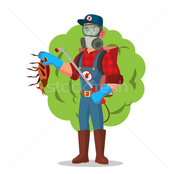 Anti Germs Vector. Exterminator. Spraying Pesticide. Chemical Protective Suit Termites. Disinfection Stock photo © pikepicture